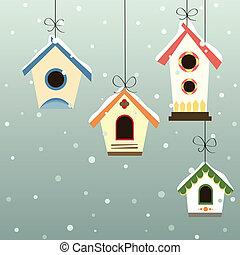 Abstract bird house set