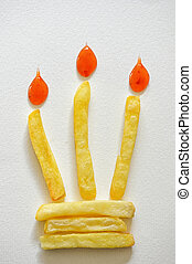 Birthday Cake With Burning French Fries Candle
