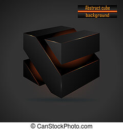abstract black 3d cube vector