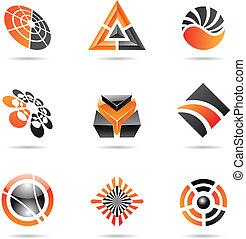 Abstract black and orange Icon Set 23