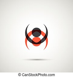 abstract black and red figures on the background
