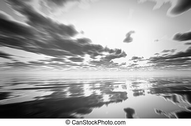 Abstract black and white 3D sunset over the ocean