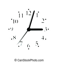 Abstract black and white analogue clock face dial reading 3:03 PM, isolated blurred macro silhouette