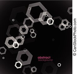 Abstract black and white background with hexagons.