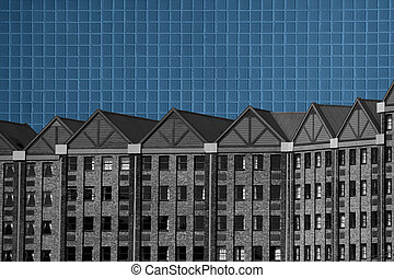 Abstract Black and White Building Blue Tiles