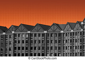 Abstract Black and White Building Orange Tiles