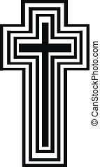 Abstract black and white cross
