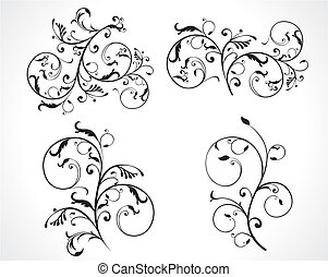 abstract black and white curved floral designs set vector illustration