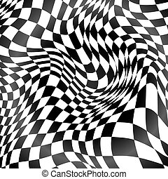 Abstract black and white curved grid background - Abstract...