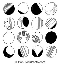 Abstract black and white doodle circles vector collection