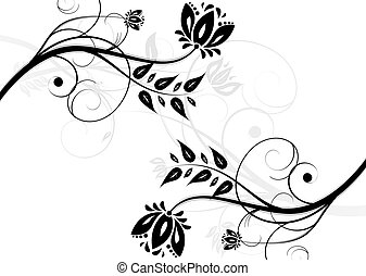 Abstract black and white floral bac