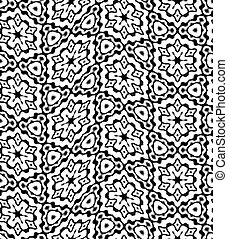 Abstract black and white floral pattern, Tile texture background, Ornate seamless illustration