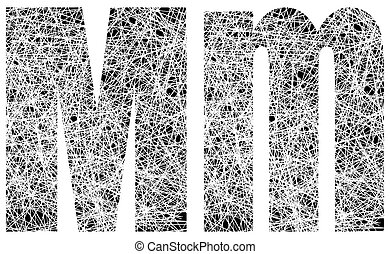 Abstract Black and White Font Letter M