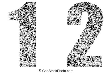 Abstract Black and White Font Numbers 1 and 2