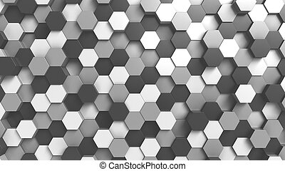 Abstract black and white hexagonal background, 3D rendering