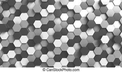 Abstract black and white hexagonal background - Abstract BW...