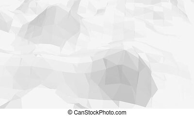 Abstract black and white low poly waving 3D surface as math environment. Grey abstract geometric vibrating environment or pulsating background in cartoon low poly popular stylish 3D design.