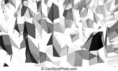 Abstract black and white low poly waving 3D surface as scientific visualization. Grey abstract geometric vibrating environment or pulsating background in cartoon low poly popular stylish 3D design..