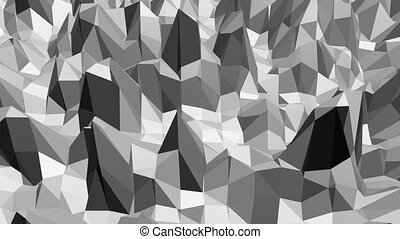 Abstract black and white low poly waving 3D surface as space environment. Grey abstract geometric vibrating environment or pulsating background in cartoon low poly popular stylish 3D design.