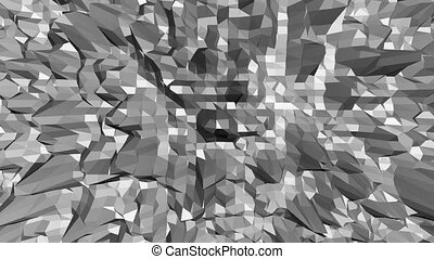 Abstract black and white low poly waving surface as bright backdrop. Grey abstract geometric vibrating environment or pulsating background in cartoon low poly popular stylish 3D design.