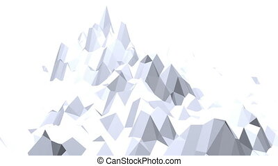 Abstract black and white low poly waving surface as fantastic landscape. Grey abstract geometric vibrating environment or pulsating background in cartoon low poly popular stylish 3D design.