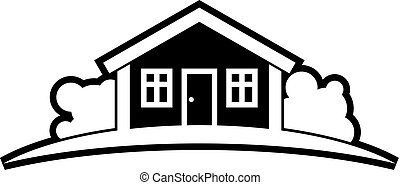 Abstract black and white simple vector house with horizon line. Best for use in graphic design symbol. Countryside idea, beautiful village landscape.