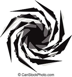 Abstract black and white spiral. Radial, radiating lines...