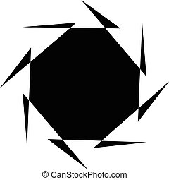 Abstract black and white spiral. Radial, radiating lines with spiral distortion. Artistic non-figural illustration.