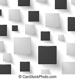 Abstract black and white squares vector background.