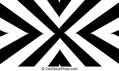 Abstract Black and White stripes. 3d rendering seamless loop