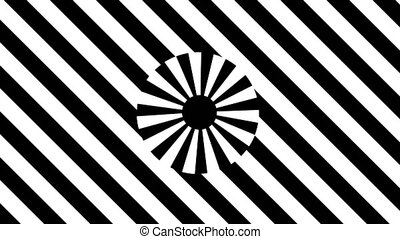Abstract Black and White stripes. 3d rendering seamless loop...