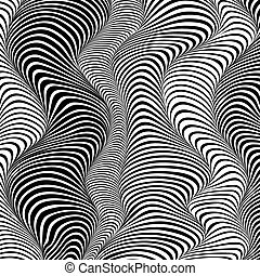 Abstract black and white stripes waves background