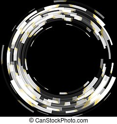 Abstract black and white technology circles background