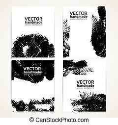 Abstract black and white texture handdrawing on  banner set 1