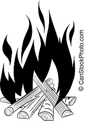 Abstract black and white vector bonfire for your design