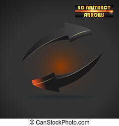 abstract black arrows 3d vector