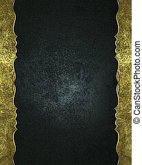 Abstract black background with a gold edges. Design template. Design site
