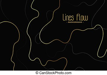 abstract black background with golden contour lines