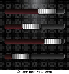 Abstract black background with metal sliders