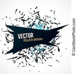 Abstract black banner with blue light explosion of particles on white background