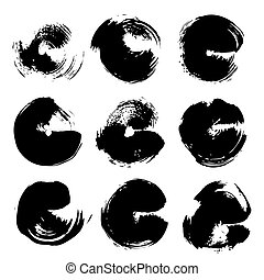 Abstract black big round textured strokes set isolated on a white background