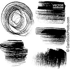 Abstract black brush strokes on white background