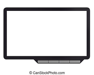 Abstract black computer monitor isolated on white background.