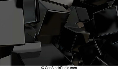 Abstract black cubes background. Digital backdrop