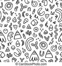 Abstract black doodles seamless pattern