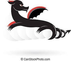 Abstract black dragon