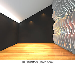 Abstract black empty room with wave wall