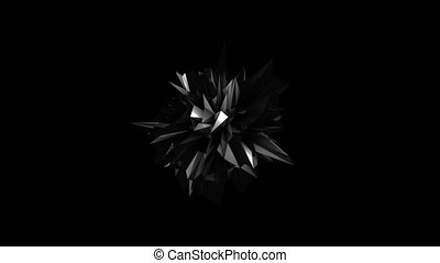 Abstract black fractal geometric element. Seamless loop