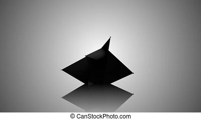 Abstract Black Fractal Geometric, Polygonal or Lowpoly Style Black Sphere made From a Triangular