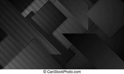 Abstract black geometric shapes hi-tech motion background. Seamless looping. Video animation Ultra HD 4K 3840x2160